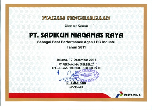 Best Performance LPG Agent Industry 2011