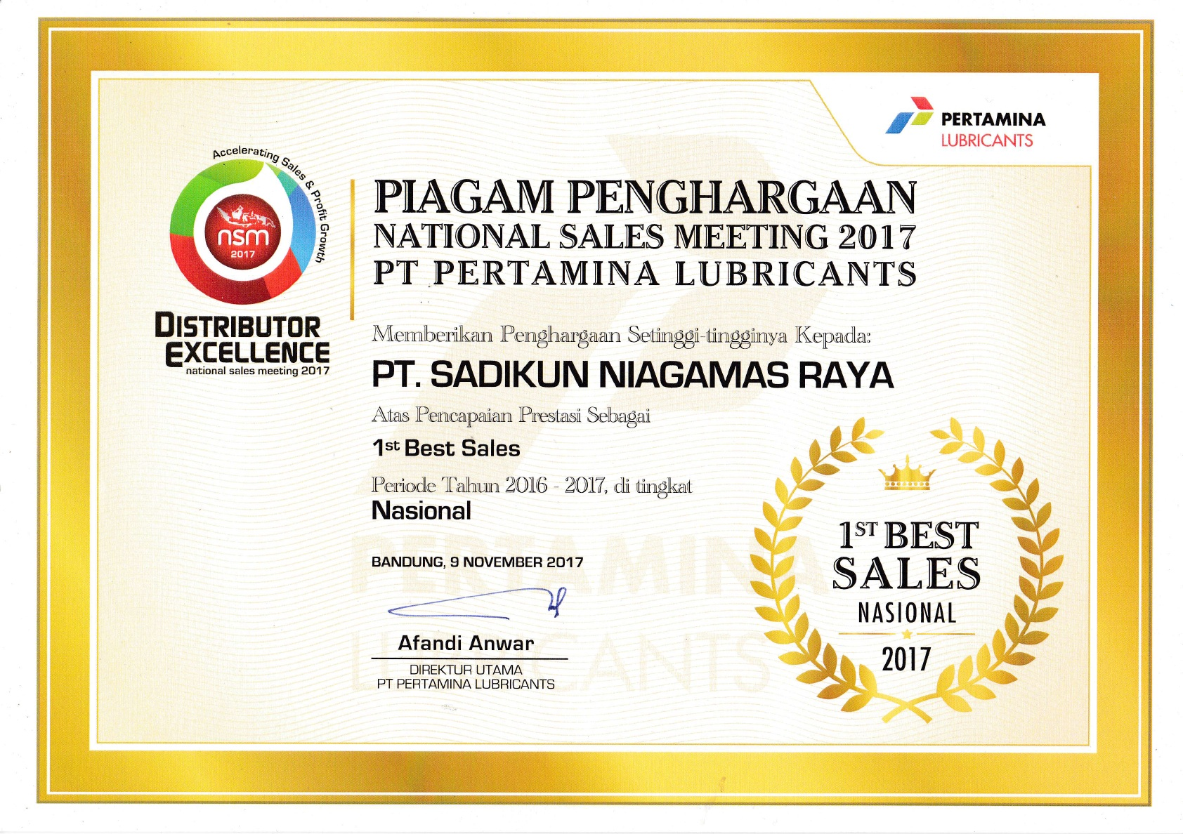 1st Best Sales National 2017